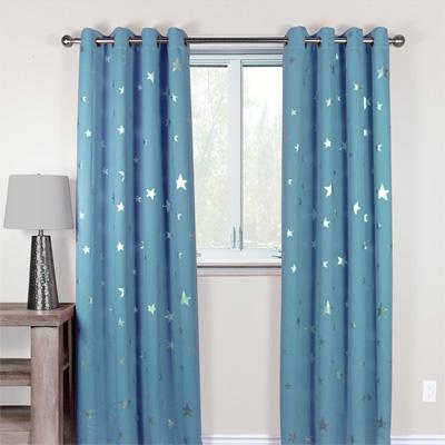 GALAXY Silver Stars Blockout Curtains In Interior Design